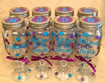 13 Personalized REDNECK WINE GLASSES Bridal Party Bride Bridesmaid Maid of Honor Matron of Honor Bachelorette Wedding Mason Jar Polka Dots