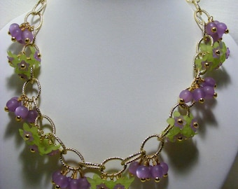 Green and Lilac Flower Chain Necklace