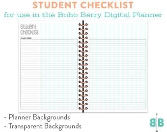 DIGITAL Student Checklist Spread for the Boho Berry Digital Planner