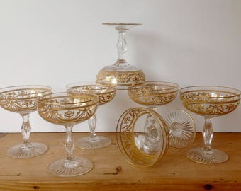 Antique Baccarat Crystal Coupe Champagne Gold Encrusted Bubble Stem Set of 7 Excellent