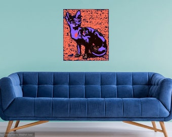 Contemporary Purple Siamese Cat Portrait Photo Print  Living Room,Restaurant,Bedroom,Office