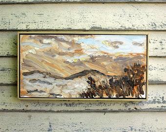 """Karme Choling Sunrise Vermont, Plein Air Landscape Oil Painting, 9x18"""""""