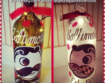 Natty BOH Baltimore Lighted Wine Bottle