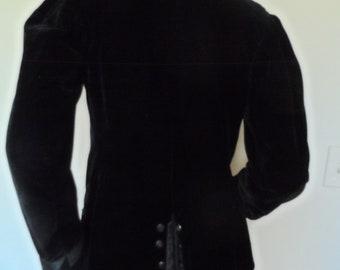 Vintage 1930's Black Velvet Formal Blazer* Size M . Unusual One Of A Kind . Tuxedo Style . Elegant . Formal Occasion . Most Beautiful Jacket
