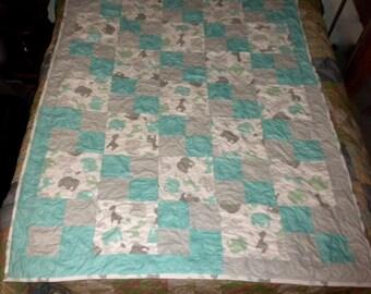 homemade BABY Quilt 46x62 ELEPHANTS/GIRAFFES