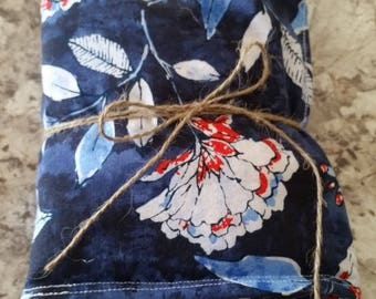 Blue and Red Floral Print Hot/Cold Rice Bag Heating Pad Microwavable