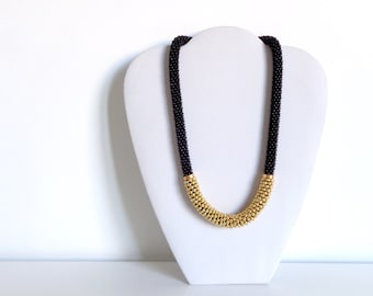 Gold Necklace // Black Rope Necklace // Bead Crochet Necklace // Mother's Day Gift Idea // Beaded Necklace // Statement Necklace