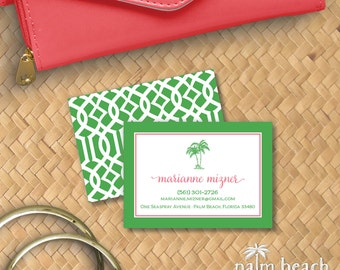 Preppy Palms Calling Cards - Pink & Green Palm Tree Personalized Business Card - Custom Personal Contact Card - Trellis / Lattice Pattern