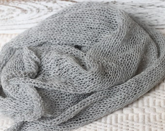 Light Gray Knitted wrap, New Born Gray Wrap