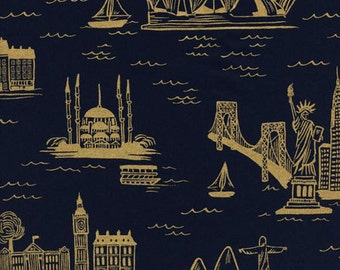 Les Fleurs - City Toile Fabric (Metallic) - Navy - Sold by the 1/2 Yard