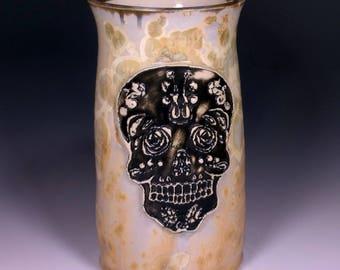 Large Art Nouveau Sugar Skull Stamped Tan Khaki Green Black Gold Gray Silver Crystalline Glazed Bone Handle Large Beer Mug Stein