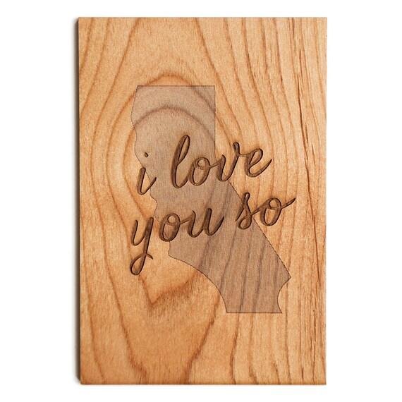 ich liebe dich so amerikanische holz postkarte california. Black Bedroom Furniture Sets. Home Design Ideas