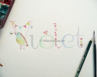 Name Art, Original Watercolour Painting, Name Painting, Custom Name, Personalized Artwork, Baby Name Art, Personalized Baby Gift, Kids Gift.