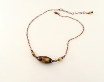 Boho minimal chain necklace, porcelain bead bohemian necklace. Delicate bead and chain necklace. Boho glass bead chain. Hippie necklace