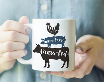 Farm Animal Mug - Farmhouse Mug, Free Range Mug, Farm Fresh Mug, Grass Fed Mug, Gift for Granola Girl, Country Girl Gift