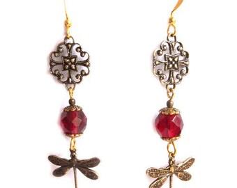 Golden arabesques bronze highlights red Dragonfly earrings