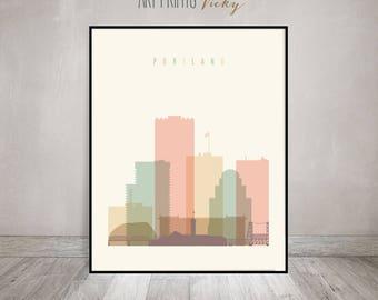 Portland print, Poster, Wall art, Portland skyline, Oregon cityscape, City poster Typography art, Home Decor, Digital Print ArtPrintsVicky