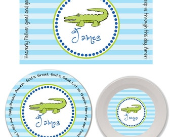 Personalized Kids Melamine Plate, Bowl and Placemat Set - Melamine Dinnerware Set - Mealtime Set - Kids Plate and Bowl Set - Alligator