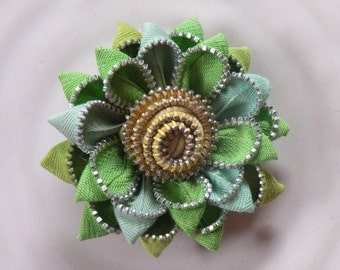 Green Recycled Vintage Flower Brooch or Hair Clip