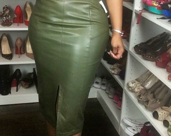 WHOWHATWEAR - Green faux/vegan leather pencil skirt