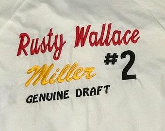 NASCAR Rusty Wallace Miller Genuine Draft #2 Vintage 1980s White Full Zip Crew Jacket Size Large