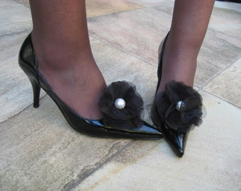 Black Organza and Tuille Flower Shoe Clips