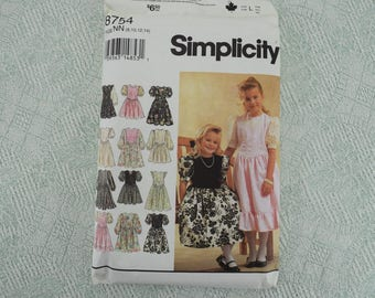 Simplicity Sewing Pattern 8754 childs girls dress from 1993