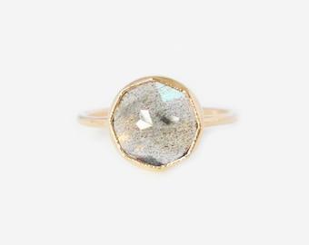 Custom Round Gemstone Stacker Ring, Handmade ring in Recycled 14k gold, personalized gemstone ring