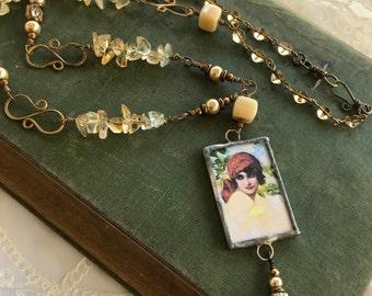 Charming Dark Eyed Beauty-Gypsy Girl Citrine Necklace