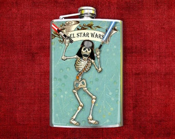 Flask 8oz Day of the Dead Skeleton Darth Vader #425