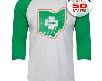 Ohio Home State Irish Shamrock - Unisex Tri-Blend 3/4 Sleeve Raglan Baseball T-Shirt - Sizes XS-3XL in 13 Colors!
