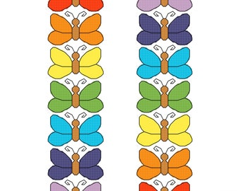 73 Rainbow butterflies cross stitch chart cheery bright insect animals pretty pdf instant download printable
