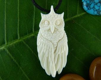 White Horned Owl Necklace - Carved Owl Necklace - Horned Owl necklace - Meditation necklace - Totem necklace - Spirit animal necklace