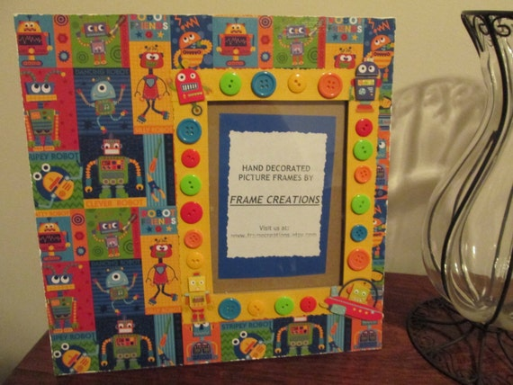 5x7 Robot Themed Hand Decorated Picture Frame