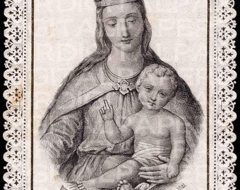 Lace Holy Prayer Card / Virgin Mary / Mary Holy Card / Madonna / Mary Jesus / Mother and Child / Mary with Crown / Digital Instant Download
