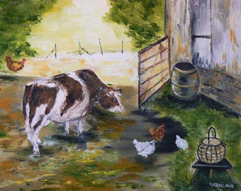 """knife homegrown scene oil painting """"the curiosity of a cow"""""""