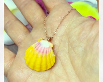 Rose Gold Sunrise Shell Necklace, Rare Hawaii Sunrise Necklace, Hawaii Shell Necklace,