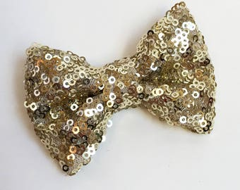 Small Gold Sequin Bow - Headband