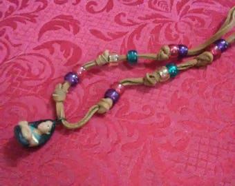 Vintage Pocahontas leather beaded necklace.