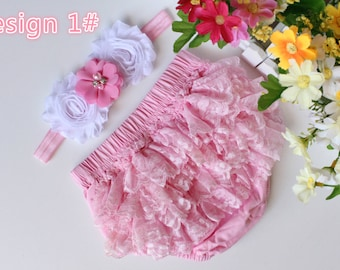 Set of Baby Cotton Bloomers Nappy Diaper Cover Pants Girl Flower Headband Photo Prop Outfit