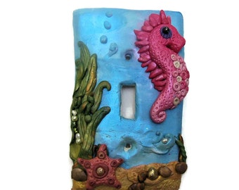 Decorative Switch plate Cover - Pink Seahorse LightSwitch Cover  - polymer clay switch plate cover - under the sea switch plate - ocean sea