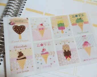Planner Stickers, Ice Cream Stickers, Full Box Stickers, Fits Erin Condren Planner