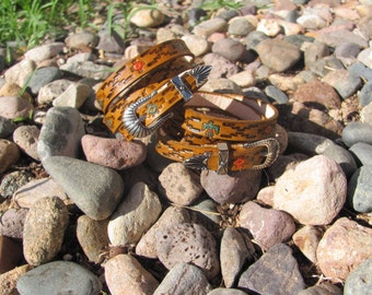 PAIR of native inspired Leather Wrap Friendship Bracelets