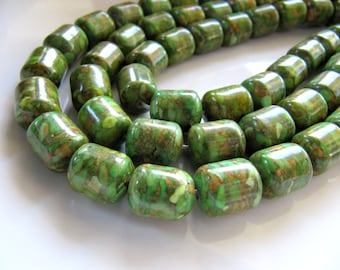 12mm Mosaic TURQUOISE Beads in Spring Green, Olive, Amber, 1 Strand 15 Inches, 31 Beads, Approx 12mm x 10mm, Barrel Drum, Assembled