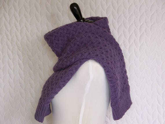 Cable Knit Ultra Violet Wool Scarf Mauve Purple Knit Easy