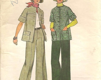 70s Vintage Simplicity Sewing Pattern 6529 Unlined Jacket Pants Size 12