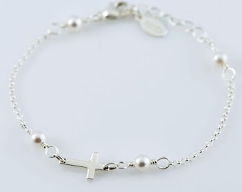 Petite Cross Gemstone Bracelet/Anklet - Sterling Silver, Gemstone Birthstone Beads