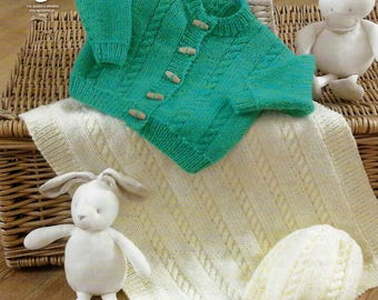 King Cole Knitting Pattern 4223~Cardigan, Blanket & Hat~Aran~14-22""
