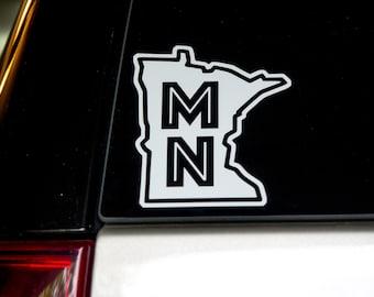 "Minnesota State Outline ""MN"" Auto Window Decal"