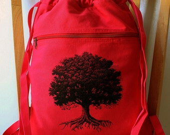 Tree Canvas Backpack School Bag Gym Bag